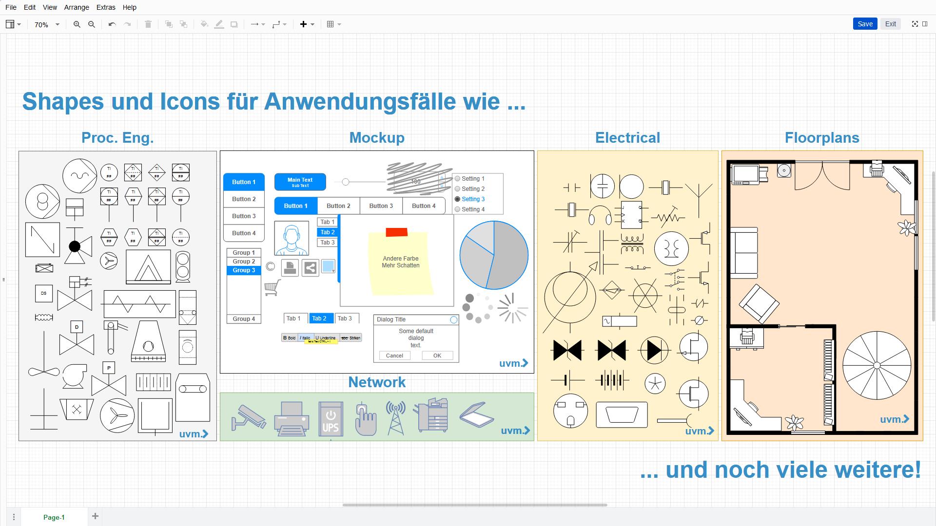 """Shapes und Icons für verschiedene Anwendungsfälle in """"Diagramme"""""""