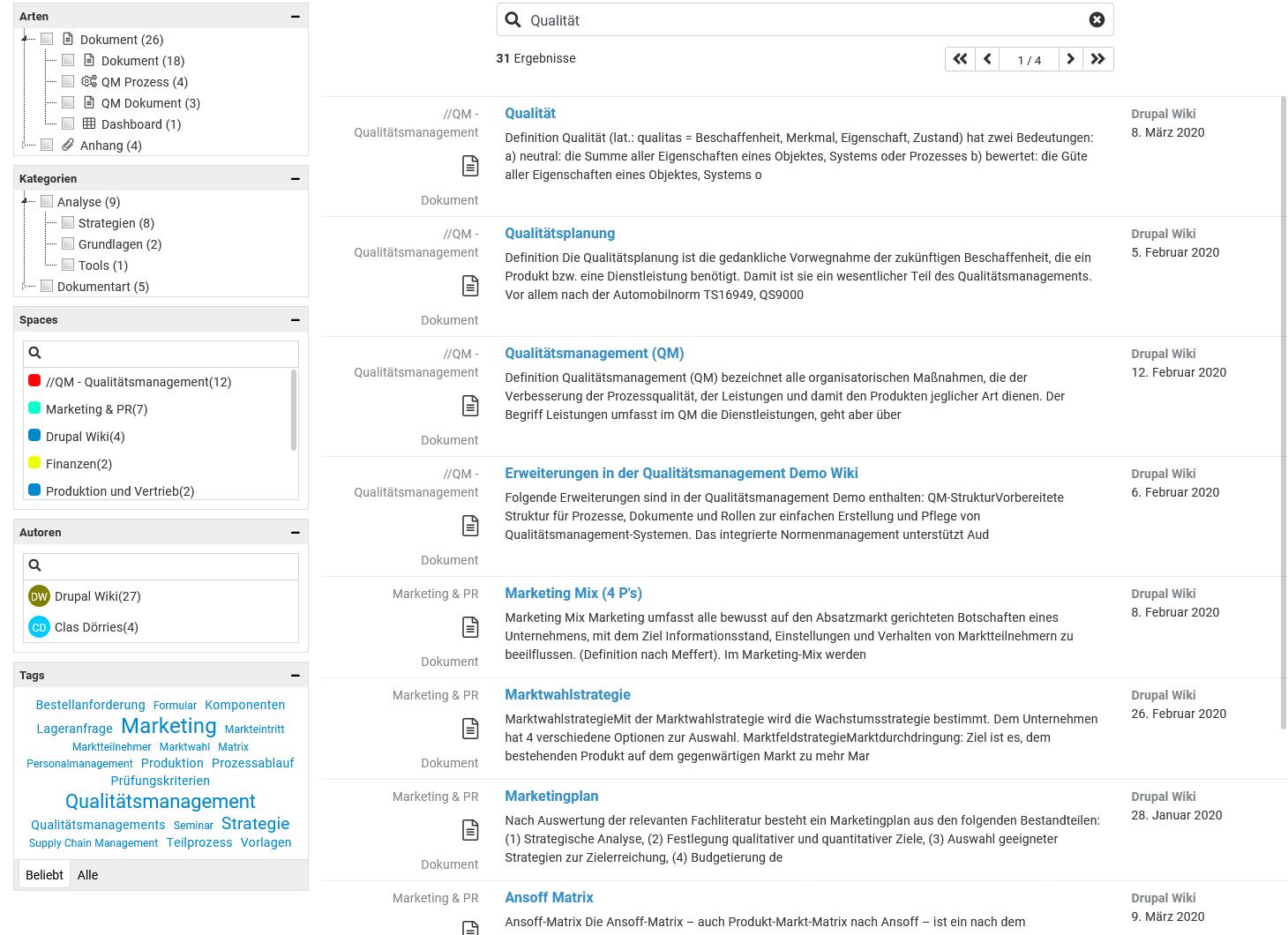 Mit der Enterprise-Suche können breite Suchanfragen leicht verfeinert werden