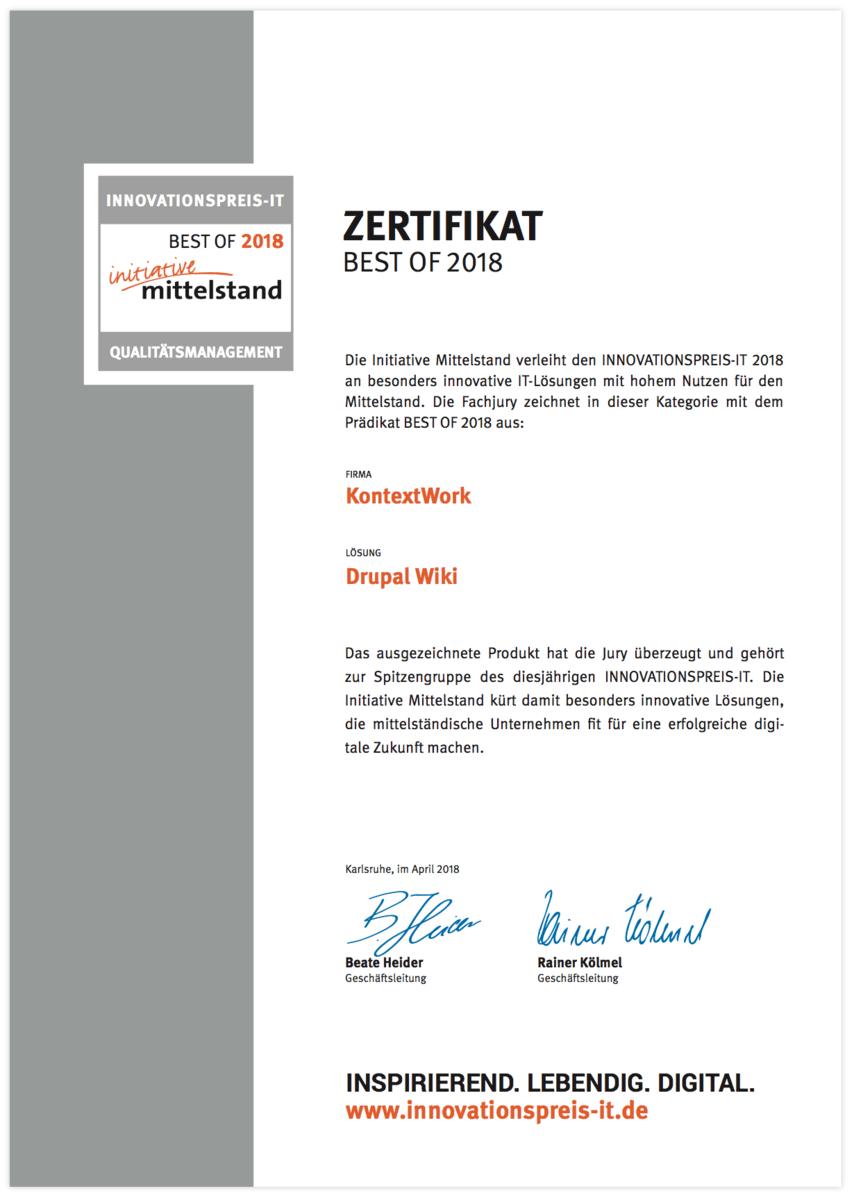 Drupal Wiki Qualitätsmanagement Zertifikat