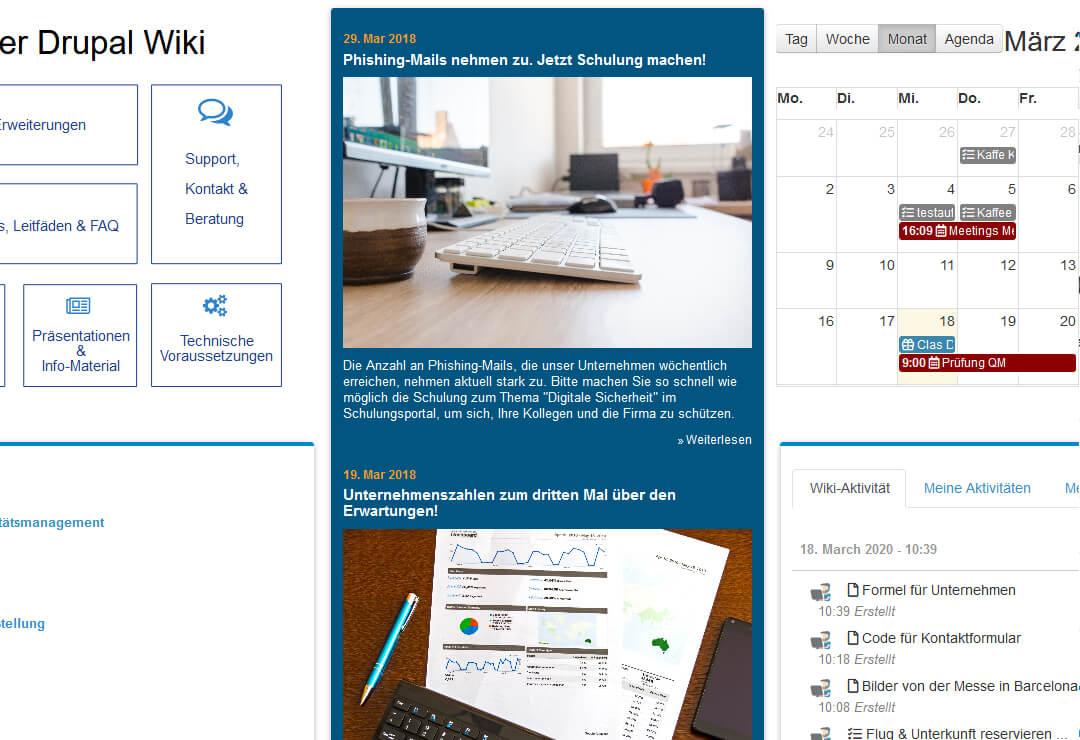 Drupal Wiki Erweiterung Unternehmens-News