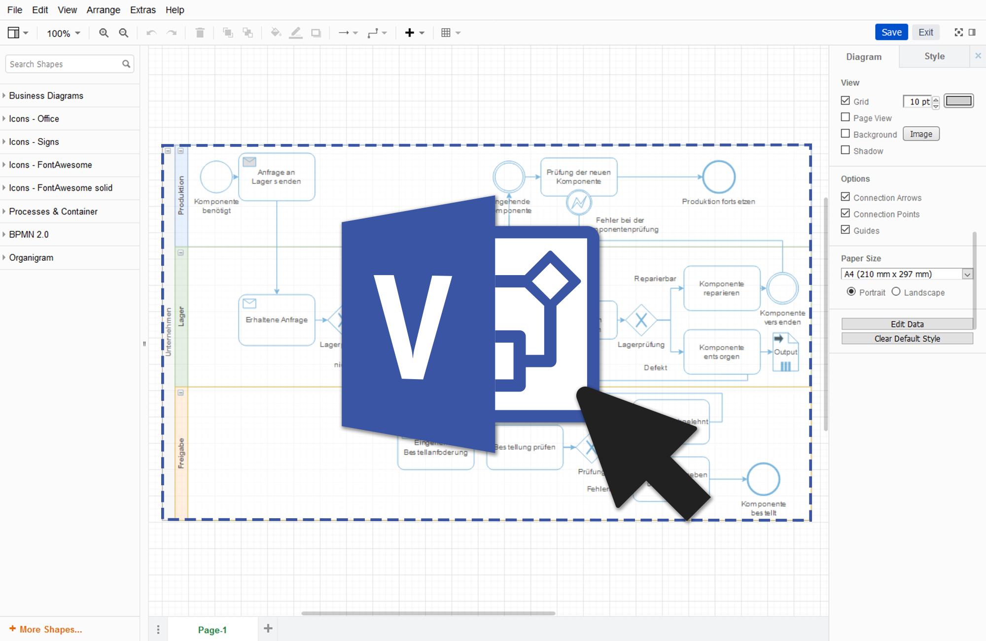 """Visio-Import (Beta) in """"Diagramme"""""""